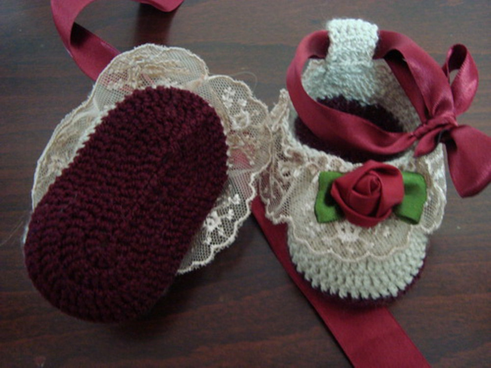 newborn baby girl handmade crochet beige - burgundy shoes, baby girl booties, girl slippers, ballet shoes, slippers with ribbons