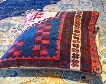 "Size: 16"" x 16"" Decorative Pillow Hand Made Hand Woven Turkish Vintage Kilim Pillow Cover B33"