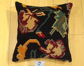 "Size: 14"" x 14"" Decorative Pillow Hand Made Hand Woven Turkish Vintage Kilim Pillow Cover B70"