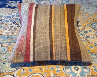 "Size: 16"" x 16"" Decorative Pillow Hand Made Hand Woven Turkish Vintage Kilim Pillow Cover B26"