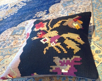"Size: 16"" x 16"" Decorative Pillow Hand Made Hand Woven Turkish Vintage Kilim Pillow Cover B27"