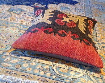 "Size: 16"" x 16"" Decorative Pillow Hand Made Hand Woven Turkish Vintage Kilim Pillow Cover B29"