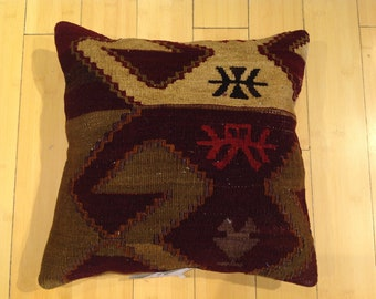 "Size: 16"" x 16"" Decorative Pillow Hand Made Hand Woven Turkish Vintage Kilim Pillow Cover B66"