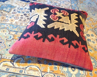 "Size: 16"" x 16"" Decorative Pillow Hand Made Hand Woven Turkish Vintage Kilim Pillow Cover B25"