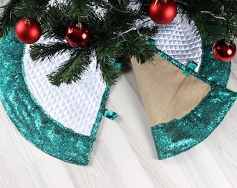 reversible tree skirt christmas tree skirt sequin tree skirt burlap tree skirtholiday tree skirt glitter tree decor - Teal Christmas Tree Skirt