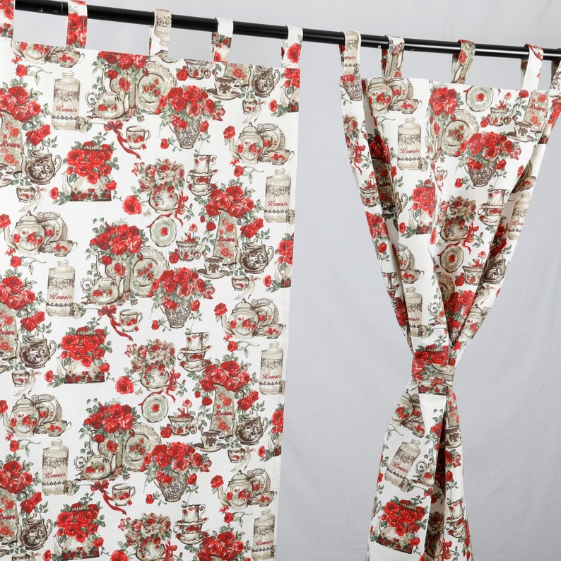 Kitchen Curtains, Rose Curtains, Shabby Chic Kitchen Decor,Vintage Floral  Curtain, Farmhouse Curtain For Kitchen, Red Kitchen Curtain Panels