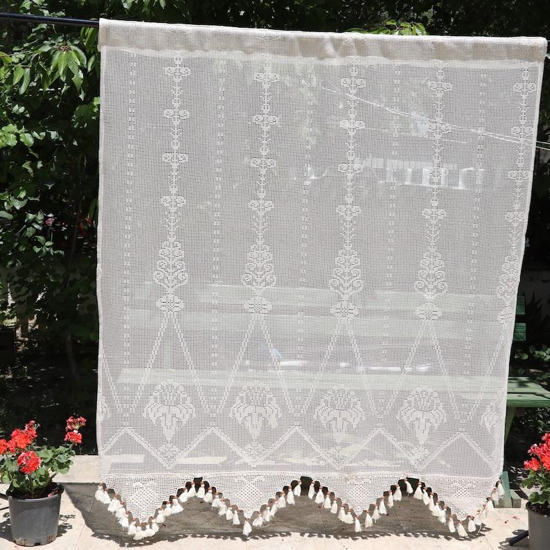 Shabby Chic Curtains Crochet Curtain Lace Curtains Custom Etsy