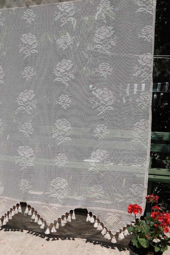 Tende Di Pizzo.Tende Floreali Tende Di Pizzo Tende Personalizzate Tende Vintage Shabby Chic Tende Cottage Chic Decor Tenda Pura Shabby Rose