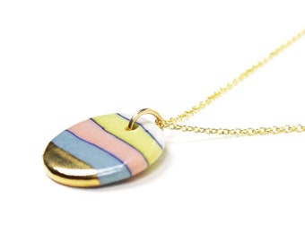 Gold porcelain necklace Ceramic charm necklace with 14k gold filled chain Porcelain pendant Gift necklace for women Rainbow hope necklace