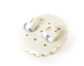 Porcelain stud earrings Ceramic porcelain pottery jewelry Stainless steel ear posts Ceramic studs Gift earrings Cookie Factory