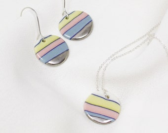 Gift jewelry set Porcelain rainbow necklace and studs with sterling silver elements Jewelry sets for women Handmade by Cookie Factory
