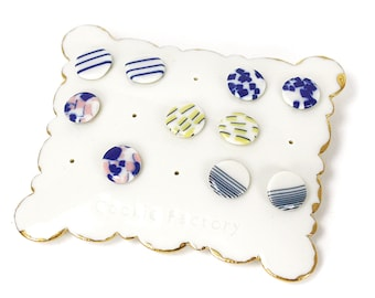 Thin porcelain earrings Sterling silver or stainless steel ear posts Bridal porcelain earrings Lightweight ceramic studs Handmade jewelry