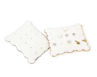 Fine porcelain earring holder Ceramic jewelry displays Pillow style Porcelain earring holder Art and collectibles Cookie Factory