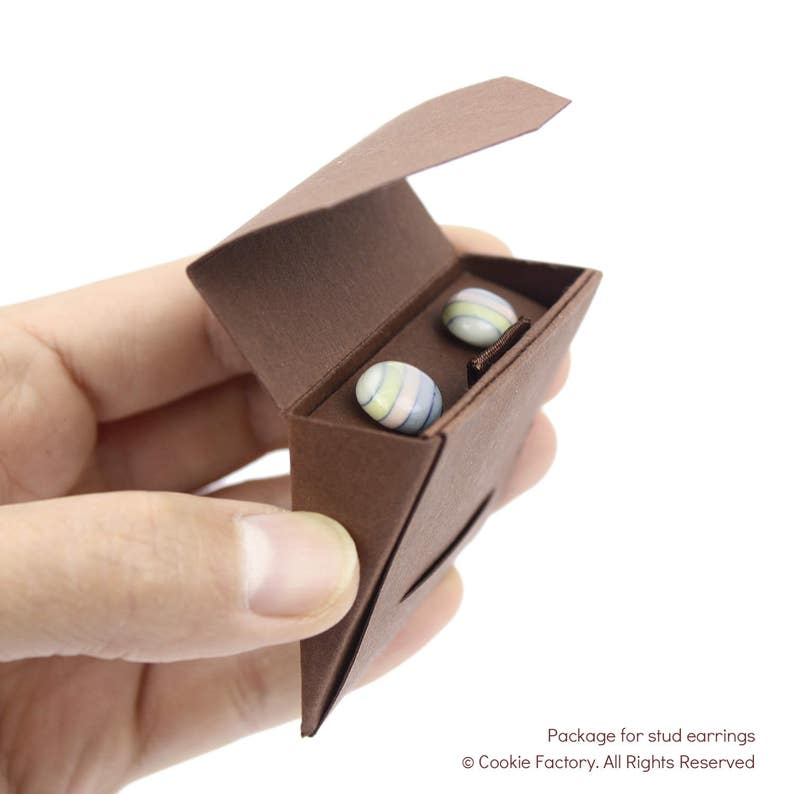 wrapped with chocolate style gift box ready to ship ready for gift giving Miki heart porcelain stud earring by Cookie Factory