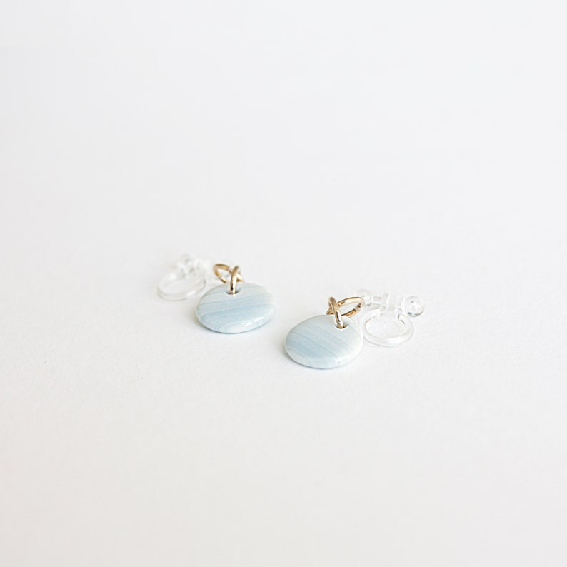 Bright blue non pierced earrings Porcelain clip on earrings with 14k gold filled rings Invisible clip on earrings Cookie Factory