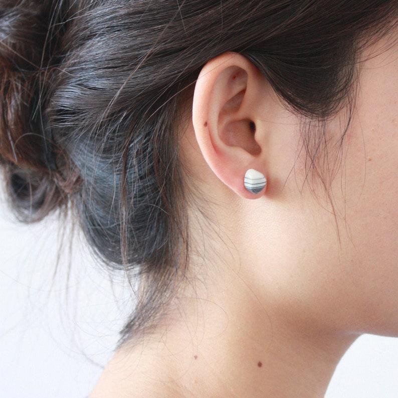 Simple porcelain stud earrings Artisan earrings Simple stud image 0