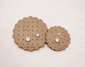 Wooden earring holders in cookie shape Flower style Jewelry organizer Stud earring display and storage Long lasting Cookie Factory