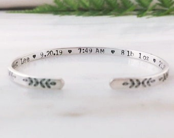 Baby Stats Bracelet, Gift for New Mother, New Mom Jewelry, New Baby Bracelet Gift, Gift for Mom after Birth, Gift for New Mom to be