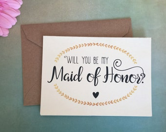 Will You Be My Maid of Honor Card, Maid of Honor Gift, Maid of Honor Proposal, Bridesmaid Card, Bridesmaid Proposal, Red Fern Studio