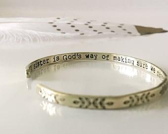 Bracelet for Sister, Gift for Sister from Sister, Sister Bracelet Personalized, Sister Jewelry, Gift for Sister Birthday, Red Fern Studio