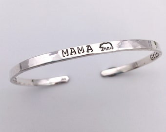 New Mom Gift, Mama Bear Jewelry, Baby Stats Bracelet, Gift for New Mom, Mom to Be Gift, New Mother Jewelry Bracelet Gift, Red Fern Studio