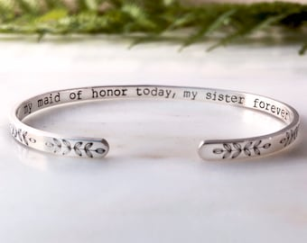 Maid of Honor Bracelet, Maid of Honor Gift Sister, Maid of Honor Proposal, Maid of Honor Bracelet Sister, Matron of Honor, Red Fern Studio
