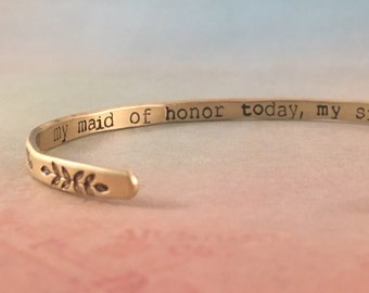 Maid of Honor Sister Bracelet, Maid of Honor Gift, Maid of Honor Proposal, Maid of Honor Bracelet Gift, Matron of Honor Gift,Red Fern Studio