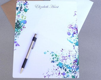Stationary Paper, 5 x 7 And 8 x 10, Personalized Stationery Set, Writing Paper, Letter Writing Set, Correspondence Paper, Purple & Green