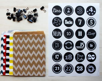 Advent Calendar // Bags + Sticker + Clips