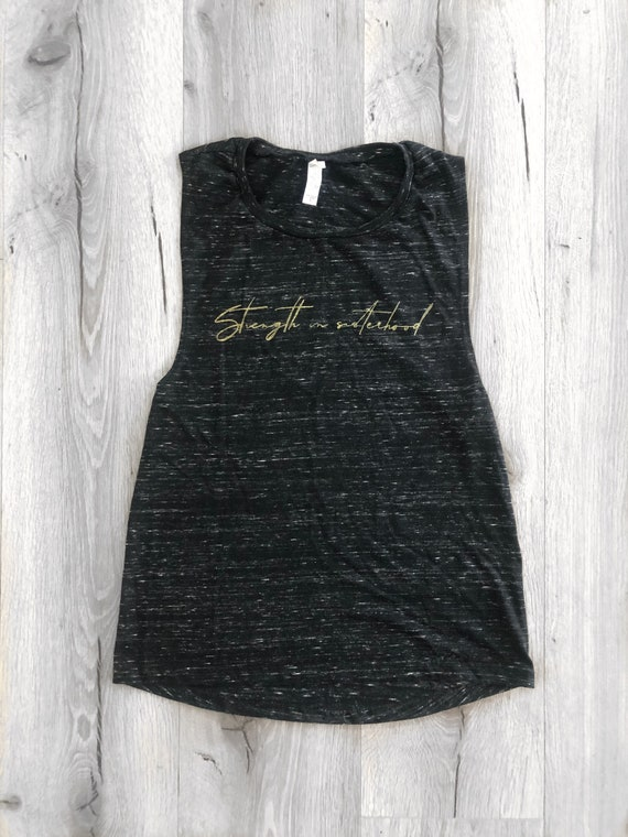 Black marbled muscle tank