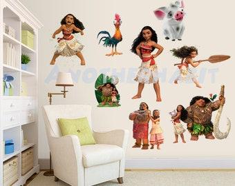 Details about  /Moana Wall Mural Vinyl Decal Sticker Decor Cartoon Girl Hawaii Kids Room