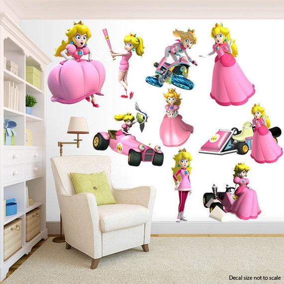 Princesse Peach Super Mario Bros Wall Sticker Chambre Decor Etsy