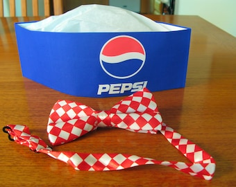 Old Fashion COCA COLA Soda Jerk Paper Hat AND Cloth Bowtie Party Planner Favor