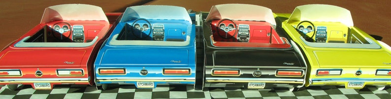 FREE SHIP 16 ~ Assorted Chevy Camaro Cardboard Cars Kids Food Box Trays  Party Favor