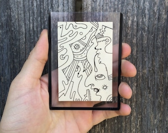 Artist Trading Cards, Original Art ATC, Abstract Hand Drawn One of A Kind Mini Art (black ink drawing on vinatge card) OOAK Collectible Art