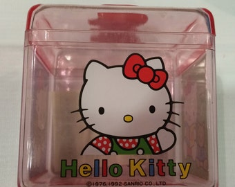 Beautiful plastic vintage sanrio hello kitty box 1992