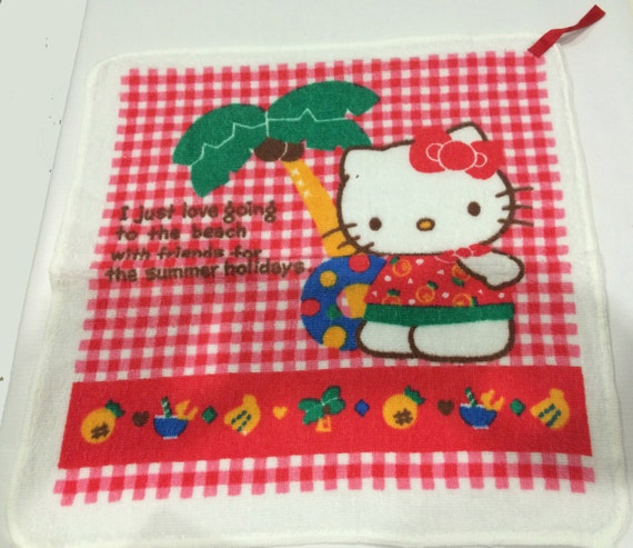 9ee536c0002a Vintage Sanrio Hello Kitty towel made in Japan 1987