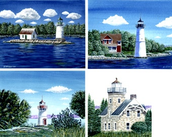 Set of 4 Prints - 1000 Islands Lighthouse Series - By Jeff Hebert