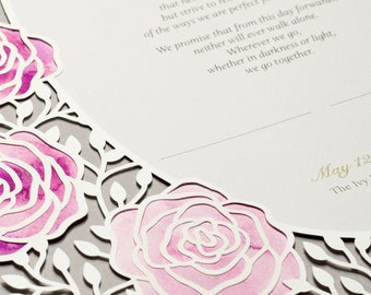 ROSES paper-cut Marriage Certificate