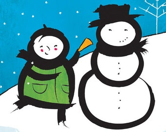 Making a Friend – original limited edition signed print.  Snow, flakes, carrot, scarf, snowman, winter, Enzo Gallery.