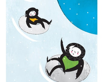 Snow Tubing Fun – original limited edition signed print.  Snow, flakes, parka, winter, tube, slide, slopes, winter, Enzo Gallery