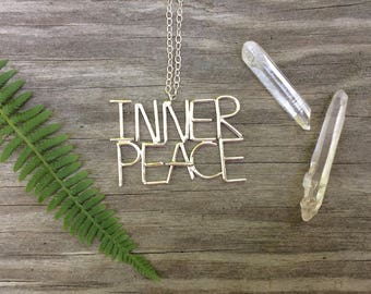 Inner Peace Sterling Silver Word Necklace