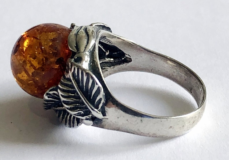 Baltic Amber /& Sterling Silver Ring
