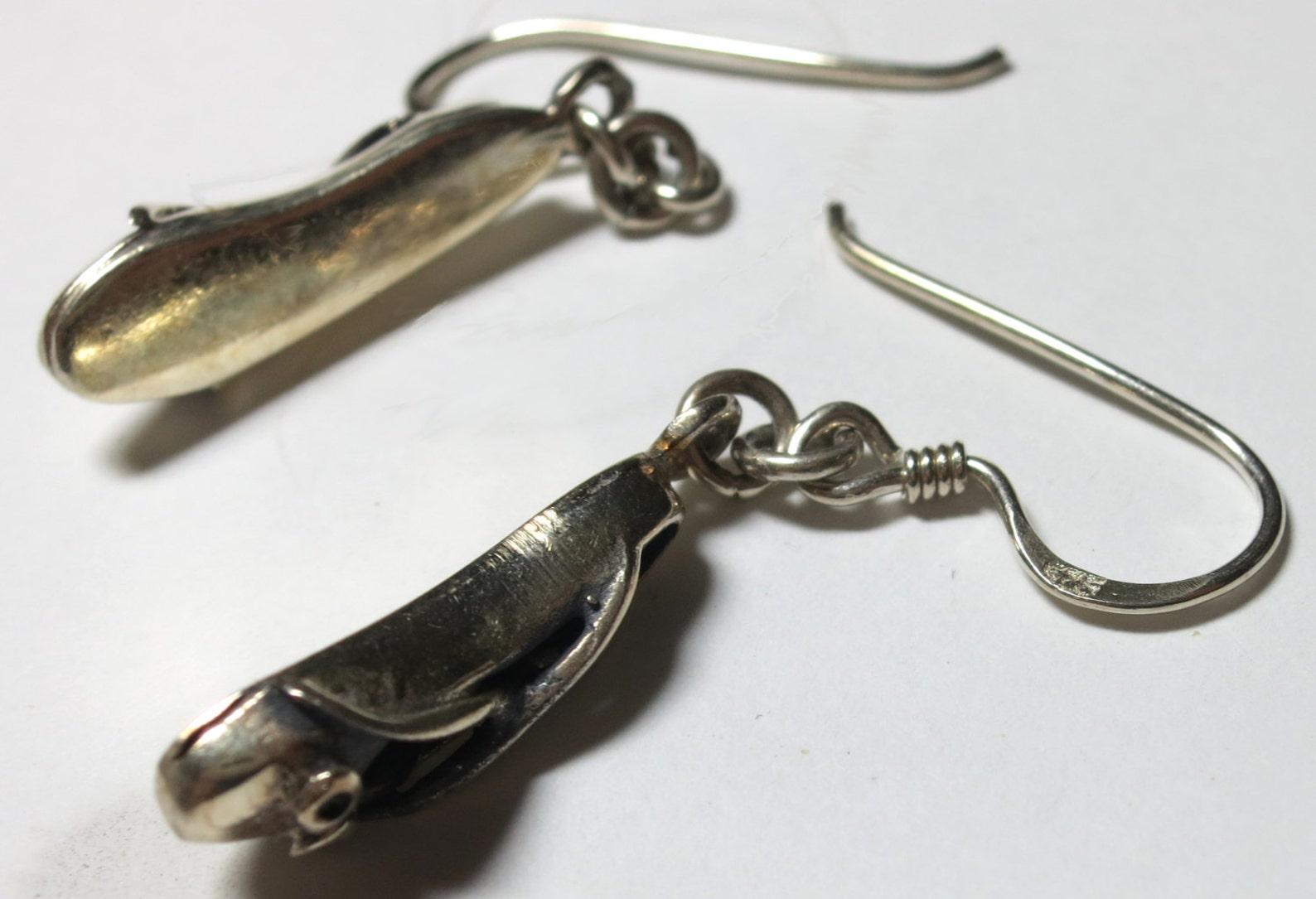pair - sterling silver ballet-shoes drop earrings