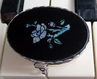Collectible Sterling Silver Miniature Pill Box With Opalescent Floral Top