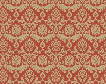 Traditions  Red/Tan  hemp fabric