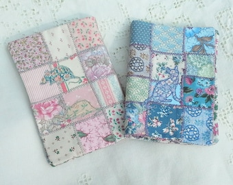 Pretty handmade patchwork needlebook with applique cat and mouse made from vintage Liberty print swatches