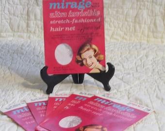 6 Unopened Packages Mirage Hair Nets by Jac-O-Net for the Beautician that has everything !!!!!!!    (Stand not  included)