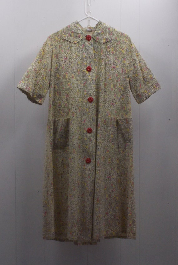 1940-50's Cotton Princess Peggy Day Dress/Duster i