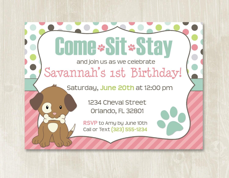 Puppy Birthday Invitation // Customizable // Puppy Party // | Etsy
